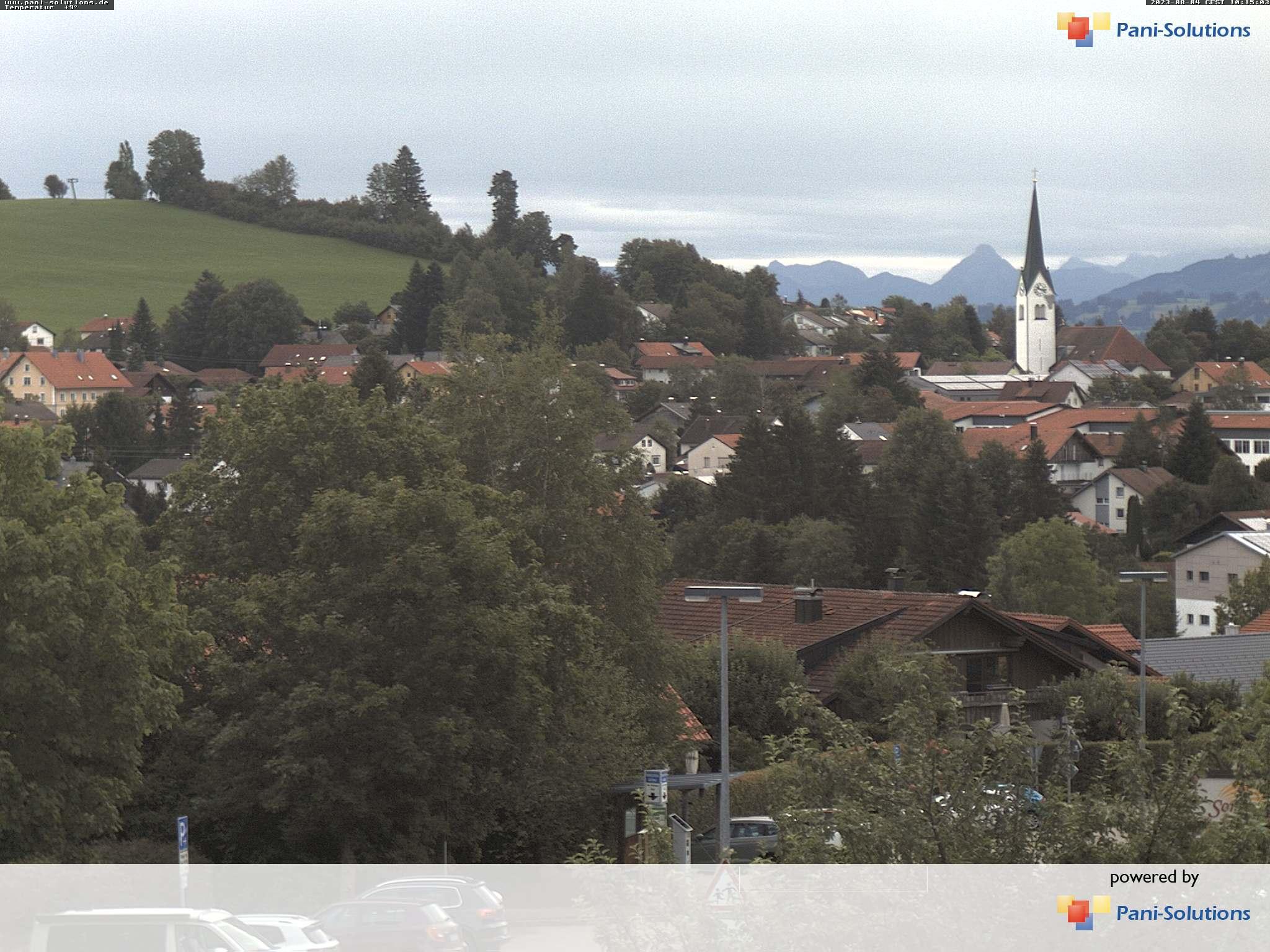 Webcampanorama Buchenberg mit Kirche Römerlift, Kirche (Oberallgäu) und Säuling im Hintergrund (Ostallgäu)